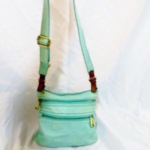 FOSSIL leather shoulder bag crossbody AQUA MERMAID